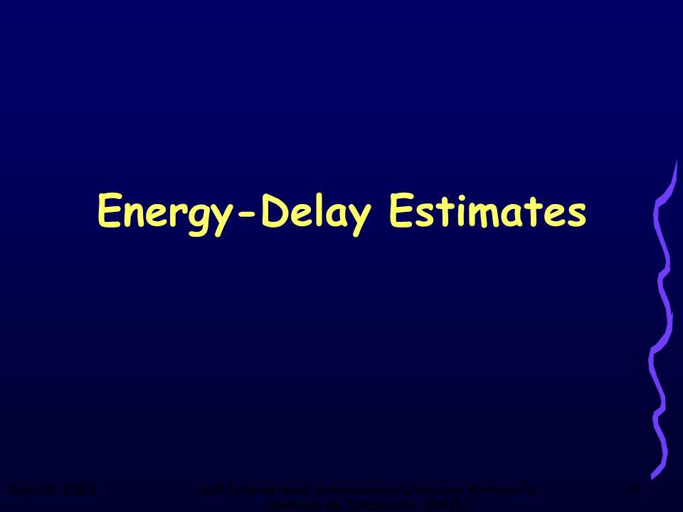 June 18, 200316th International Symposium on Computer Arithmetic, Santiago de Compostela, SPAIN 67 Energy-Delay Estimates