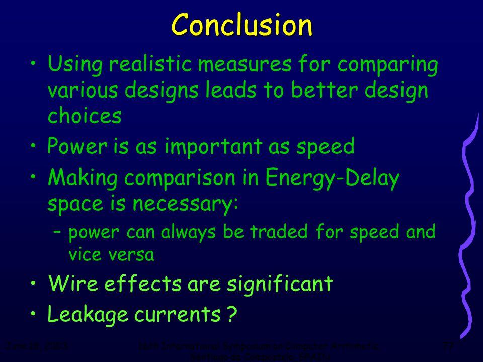 June 18, 200316th International Symposium on Computer Arithmetic, Santiago de Compostela, SPAIN 77Conclusion Using realistic measures for comparing va