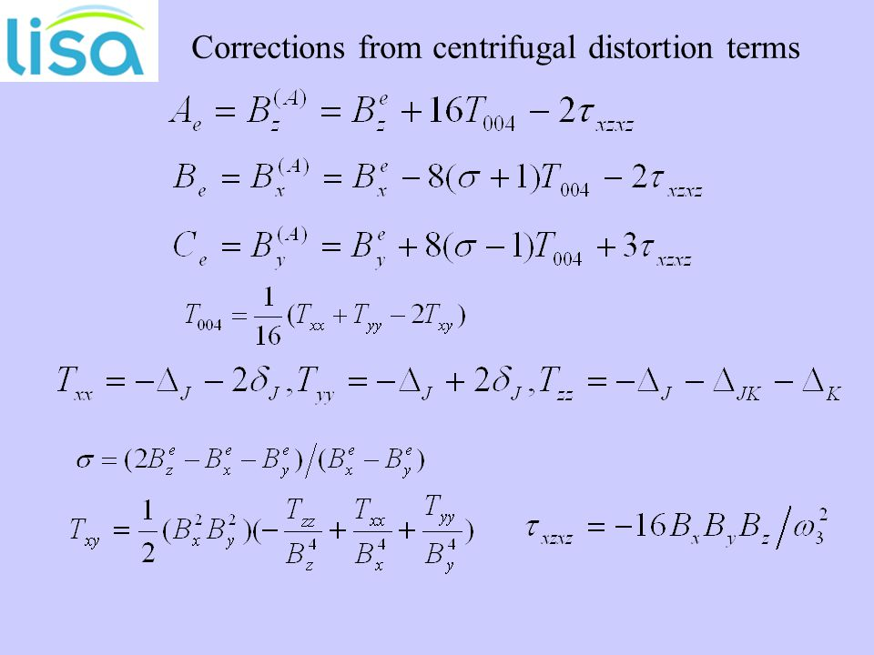 Corrections from centrifugal distortion terms