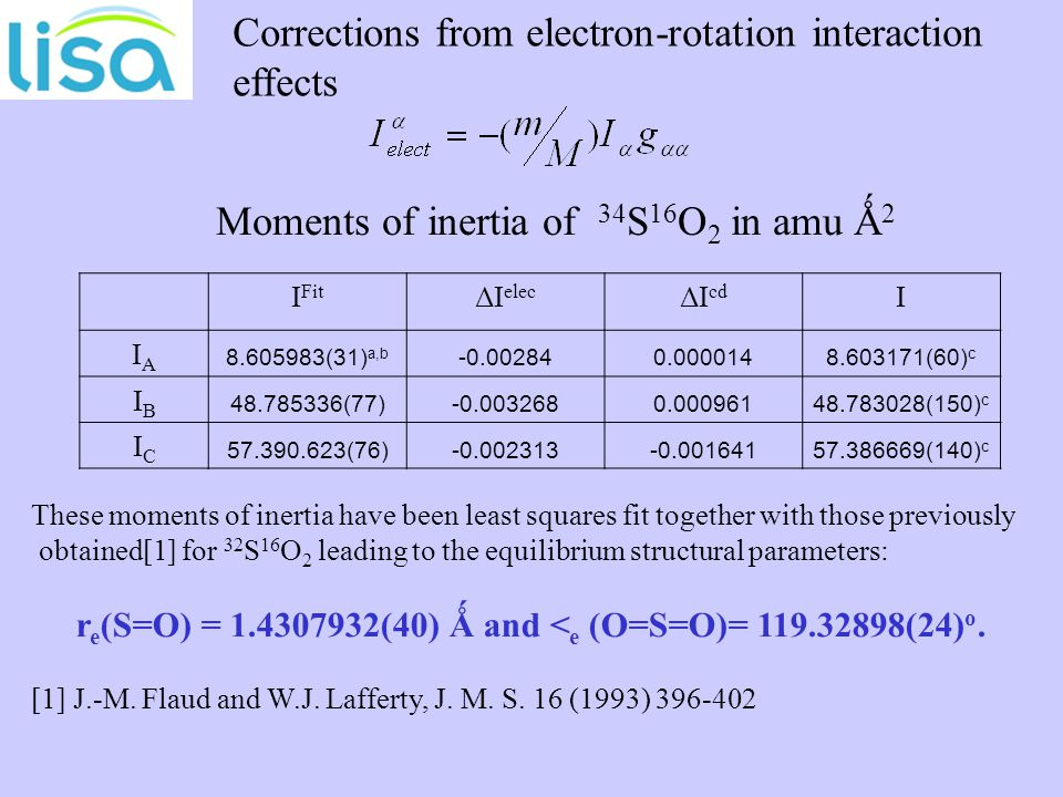Corrections from electron-rotation interaction effects I Fit ΔI elec ΔI cd I IAIA 8.605983(31) a,b -0.002840.0000148.603171(60) c IBIB 48.785336(77)-0.0032680.00096148.783028(150) c ICIC 57.390.623(76)-0.002313-0.00164157.386669(140) c Moments of inertia of 34 S 16 O 2 in amu Ǻ 2 These moments of inertia have been least squares fit together with those previously obtained[1] for 32 S 16 O 2 leading to the equilibrium structural parameters: r e (S=O) = 1.4307932(40) Ǻ and < e (O=S=O)= 119.32898(24) o.