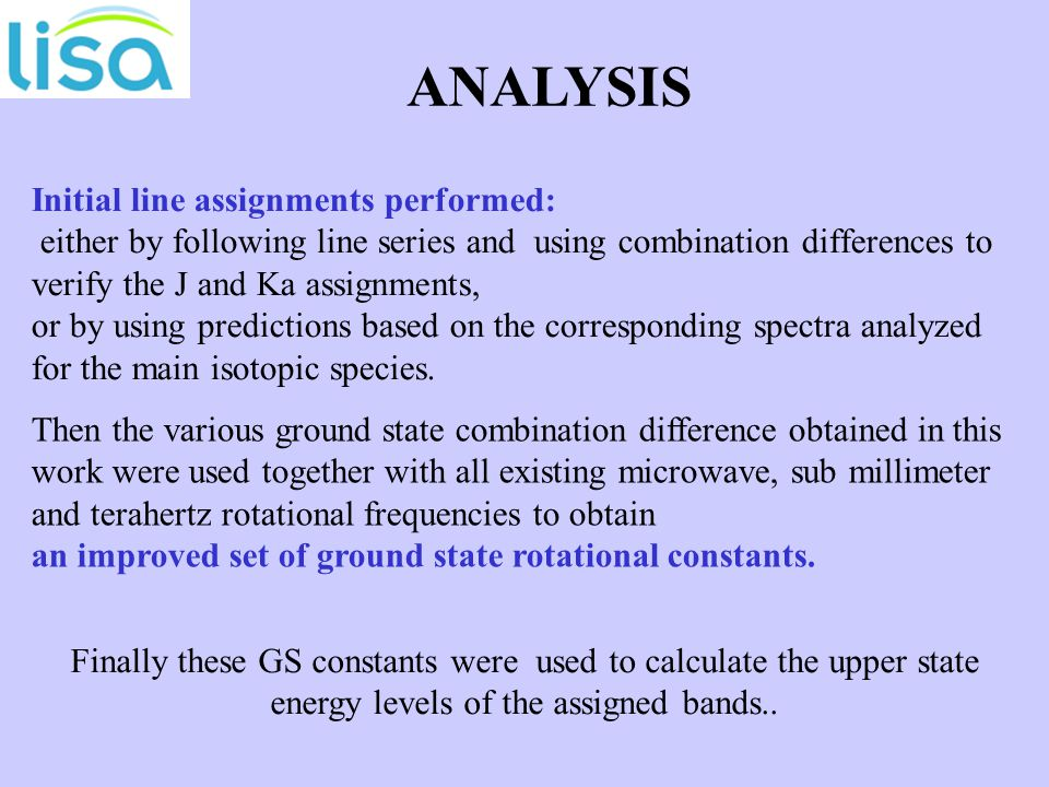 Initial line assignments performed: either by following line series and using combination differences to verify the J and Ka assignments, or by using predictions based on the corresponding spectra analyzed for the main isotopic species.