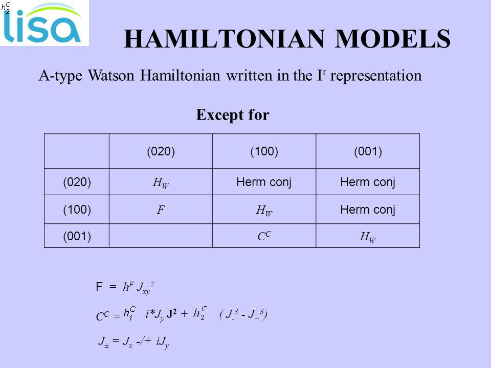 HAMILTONIAN MODELS (020)(100)(001) (020) HWHW Herm conj (100) FHWHW Herm conj (001)C HWHW A-type Watson Hamiltonian written in the I r representation Except for F = h F J xy 2 C C = i*J y J 2 + ( J - 3 - J + 3 ) J ± = J x -/+ iJ y