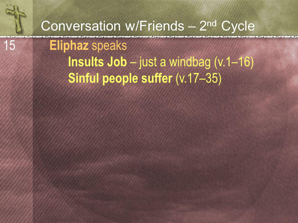 Conversation w/Friends – 2 nd Cycle Eliphaz speaks Insults Job – just a windbag (v.1–16) Sinful people suffer (v.17–35) 15