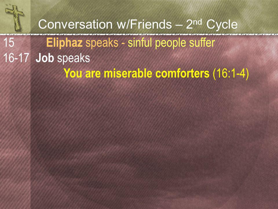 Conversation w/Friends – 2 nd Cycle Eliphaz speaks - sinful people suffer Job speaks You are miserable comforters (16:1-4) 15 16-17
