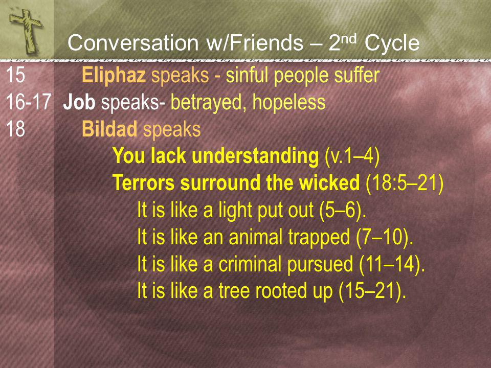 Conversation w/Friends – 2 nd Cycle Eliphaz speaks - sinful people suffer Job speaks- betrayed, hopeless Bildad speaks You lack understanding (v.1–4) Terrors surround the wicked (18:5–21) It is like a light put out (5–6).