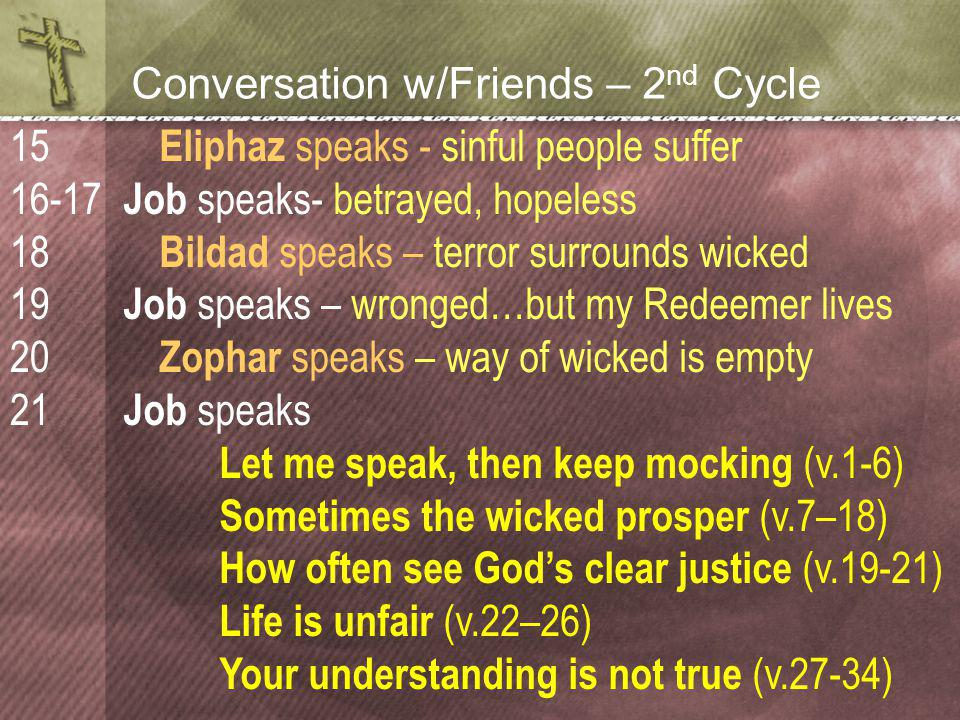 Conversation w/Friends – 2 nd Cycle Eliphaz speaks - sinful people suffer Job speaks- betrayed, hopeless Bildad speaks – terror surrounds wicked Job speaks – wronged…but my Redeemer lives Zophar speaks – way of wicked is empty Job speaks Let me speak, then keep mocking (v.1-6) Sometimes the wicked prosper (v.7–18) How often see God's clear justice (v.19-21) Life is unfair (v.22–26) Your understanding is not true (v.27-34) 15 16-17 18 19 20 21