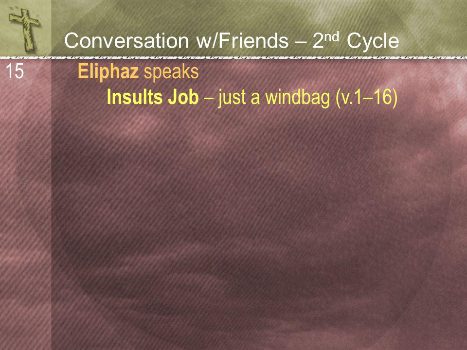 Conversation w/Friends – 2 nd Cycle Eliphaz speaks Insults Job – just a windbag (v.1–16) 15
