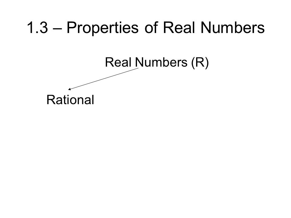 1.3 – Properties of Real Numbers Real Numbers (R) Rational