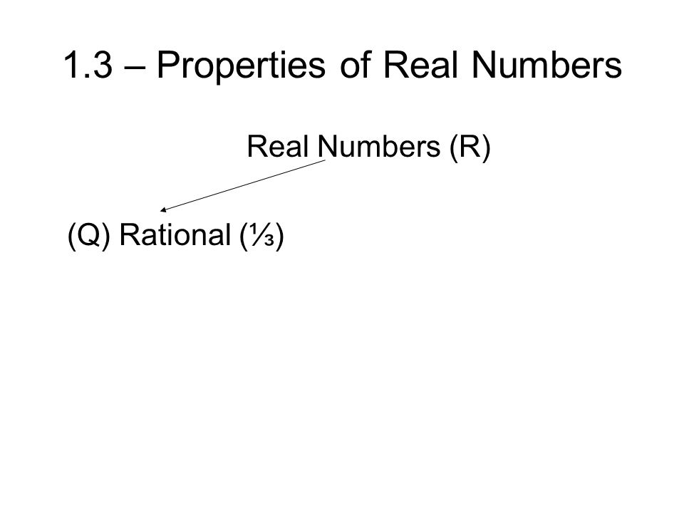 1.3 – Properties of Real Numbers Real Numbers (R) (Q) Rational (⅓)