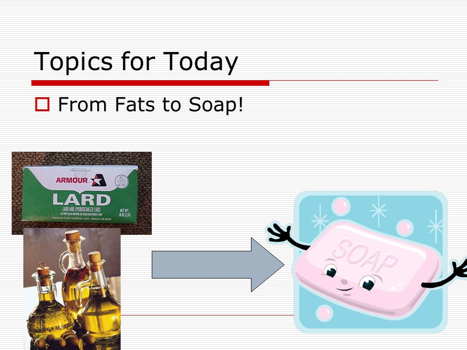 Topics for Today  From Fats to Soap!