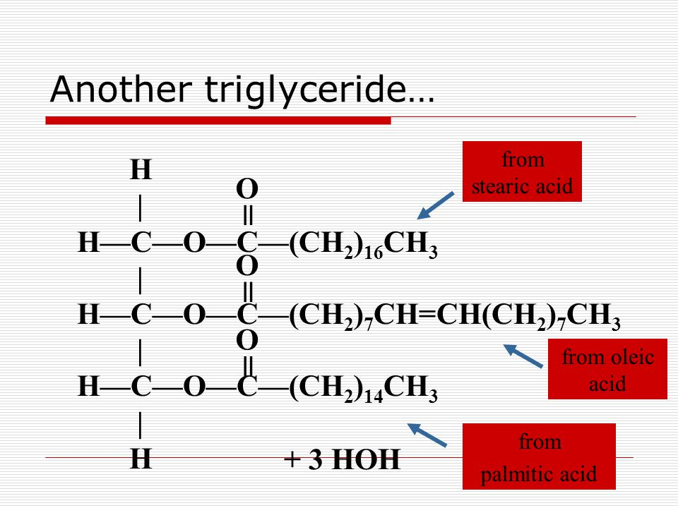 Another triglyceride… H | H—C—O—C—(CH 2 ) 16 CH 3 | H—C—O—C—(CH 2 ) 7 CH=CH(CH 2 ) 7 CH 3 | H—C—O—C—(CH 2 ) 14 CH 3 | H = O = O + 3 HOH = O from stearic acid from palmitic acid from oleic acid