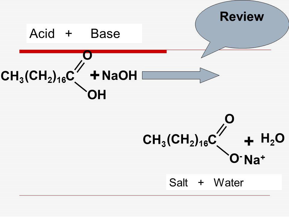 C O CH 3 + NaOH H2OH2O + Na + (CH 2 ) 16 C O-O- O CH 3 (CH 2 ) 16 Acid + Base Salt + Water Review