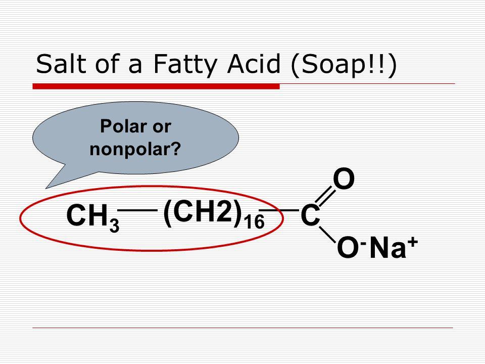 Salt of a Fatty Acid (Soap!!) CH 3 (CH2) 16 C O O-O- Na + Polar or nonpolar?