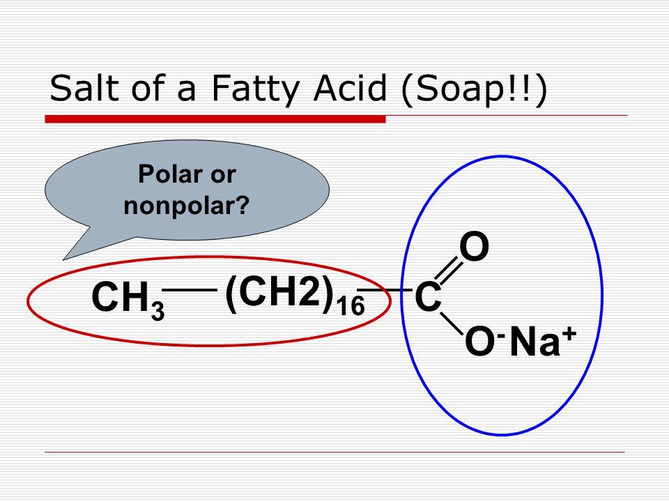 Salt of a Fatty Acid (Soap!!) CH 3 (CH2) 16 C O O-O- Na + Polar or nonpolar