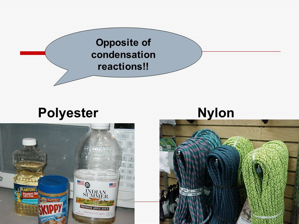 PolyesterNylon Opposite of condensation reactions!!