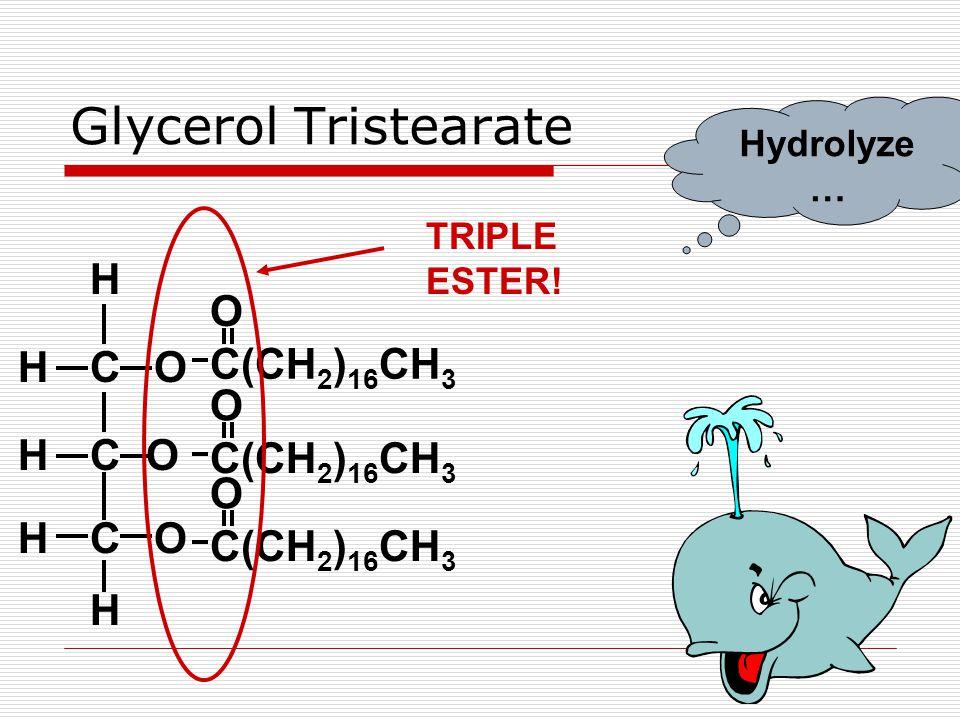 Glycerol Tristearate COH CO OCH H H H C(CH 2 ) 16 CH 3 O O O TRIPLE ESTER! Hydrolyze …