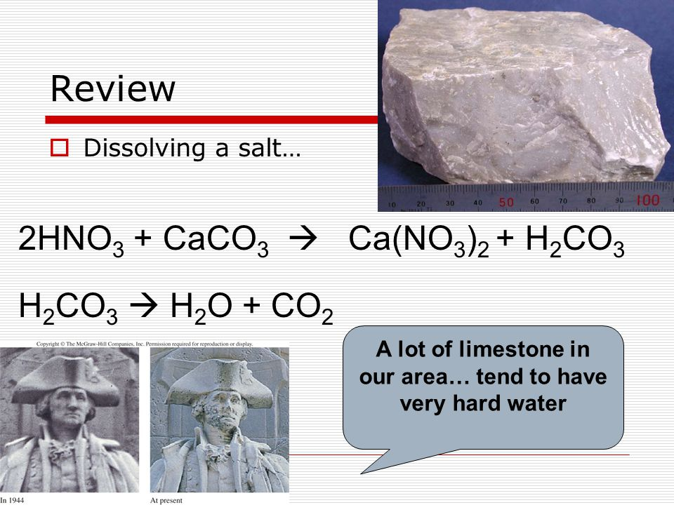 Review  Dissolving a salt… 2HNO 3 + CaCO 3  Ca(NO 3 ) 2 + H 2 CO 3 H 2 CO 3  H 2 O + CO 2 A lot of limestone in our area… tend to have very hard water