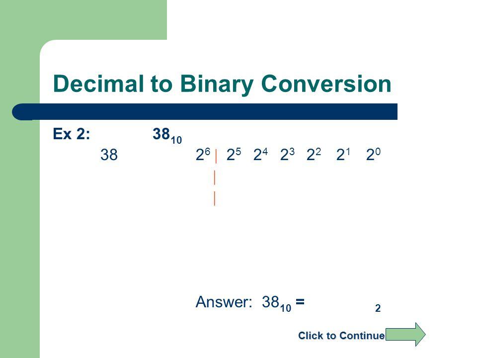 Decimal to Binary Conversion Ex 2: 38 10 382 6 | 2 5 2 4 2 3 2 2 2 1 2 0 | | Answer: 38 10 = 2 Click to Continue