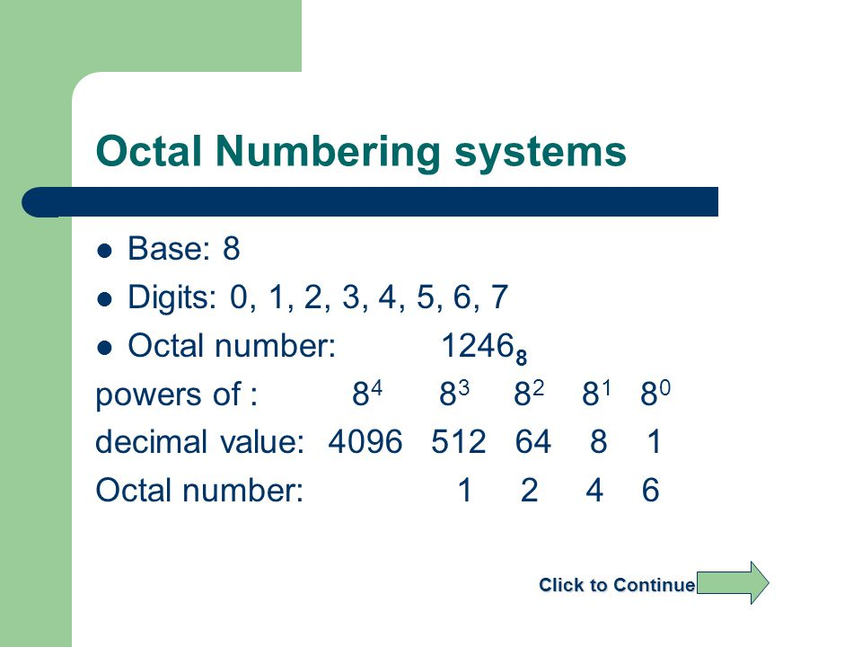 Octal Numbering systems Base: 8 Digits: 0, 1, 2, 3, 4, 5, 6, 7 Octal number:1246 8 powers of : 8 4 8 3 8 2 8 1 8080 decimal value: 4096 512 64 8 1 Octal number: 1 2 4 6 Click to Continue