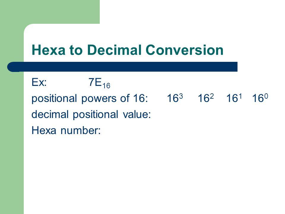 Hexa to Decimal Conversion Ex: 7E 16 positional powers of 16: 16 3 16 2 16 1 16 0 decimal positional value: Hexa number: