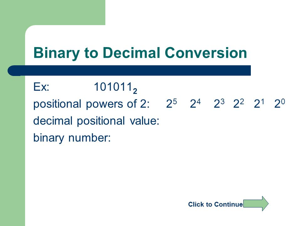 Binary to Decimal Conversion Ex: 101011 2 positional powers of 2: 2 5 2 4 2 3 2 2 2 1 2 0 decimal positional value: binary number: Click to Continue