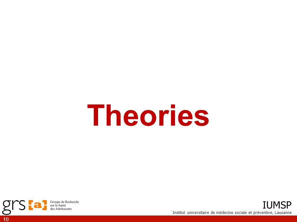 IUMSP Institut universitaire de médecine sociale et préventive, Lausanne 10 Theories