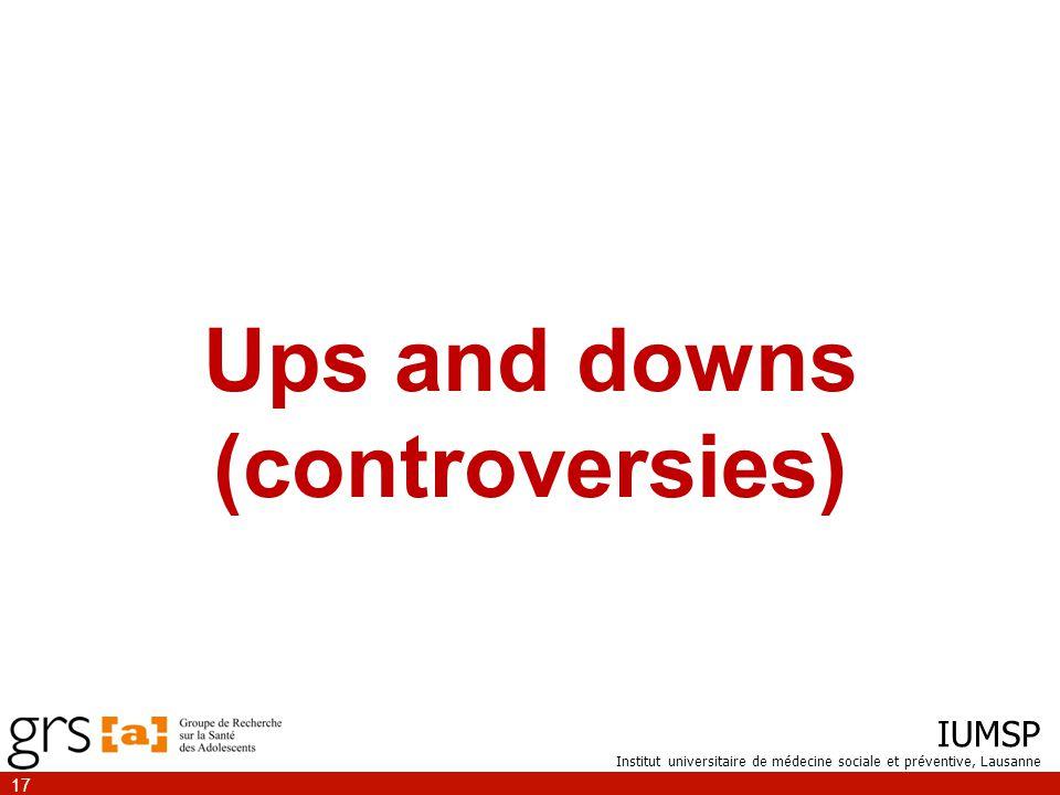 IUMSP Institut universitaire de médecine sociale et préventive, Lausanne 17 Ups and downs (controversies)