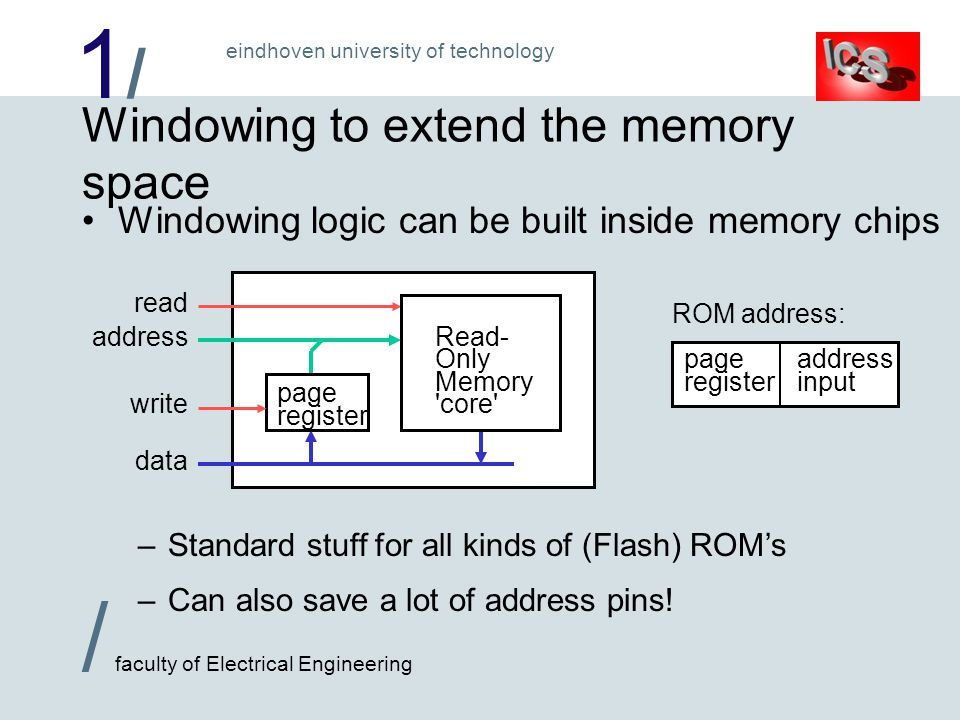 1/1/ / faculty of Electrical Engineering eindhoven university of technology Windowing to extend the memory space Windowing logic can be built inside memory chips –Standard stuff for all kinds of (Flash) ROM's –Can also save a lot of address pins.