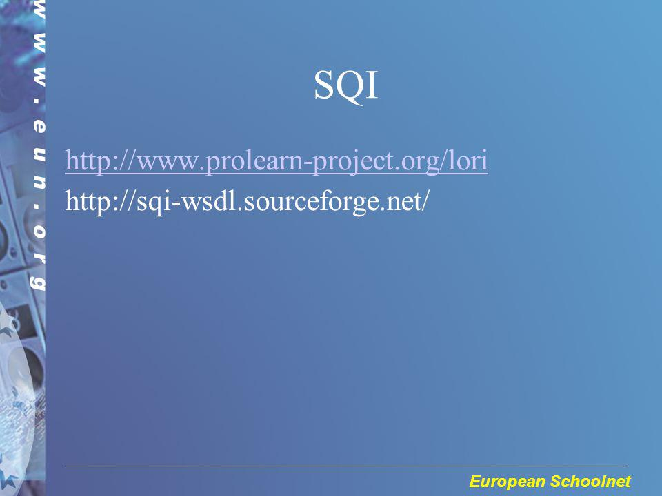 European Schoolnet SQI http://www.prolearn-project.org/lori http://sqi-wsdl.sourceforge.net/