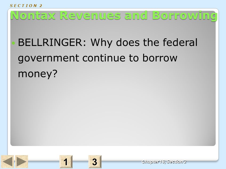 Nontax Revenues and Borrowing S E C T I O N 2 Nontax Revenues and Borrowing BELLRINGER: Why does the federal government continue to borrow money? Chap