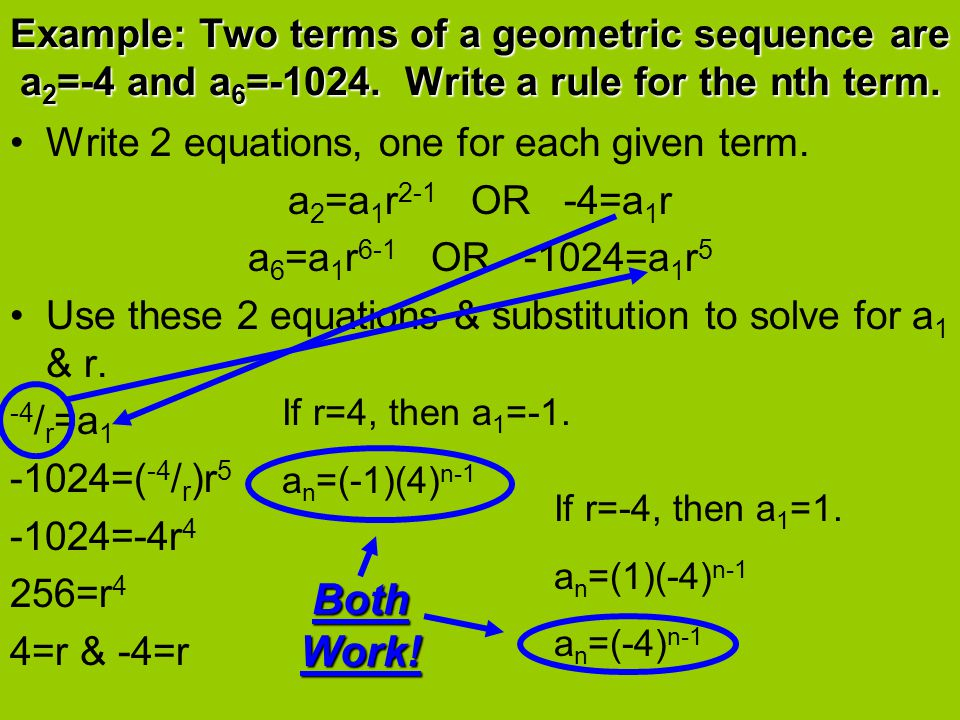 Example: Two terms of a geometric sequence are a 2 =-4 and a 6 =-1024.