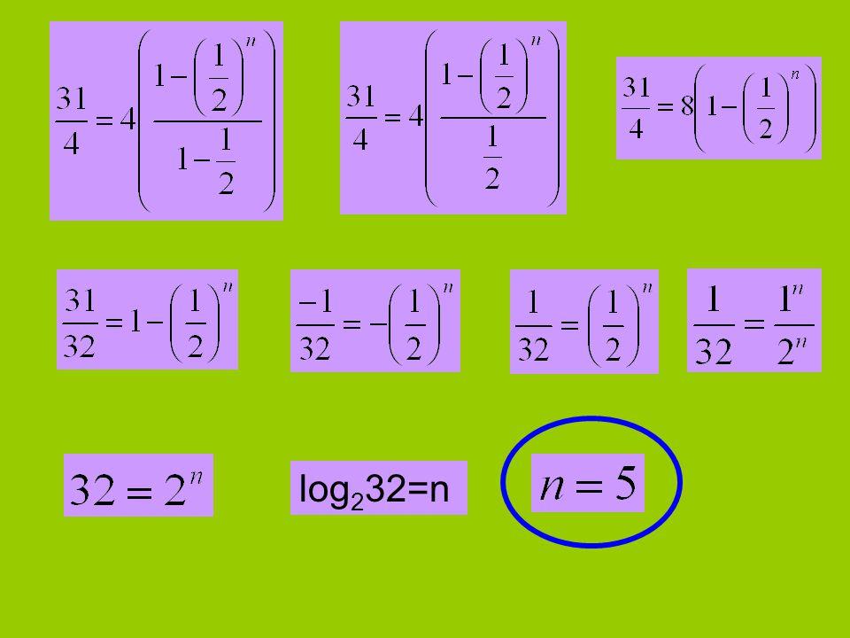 log 2 32=n