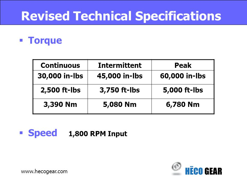 www.hecogear.com Revised Technical Specifications  Torque  Speed 1,800 RPM Input ContinuousIntermittentPeak 30,000 in-lbs45,000 in-lbs60,000 in-lbs 2,500 ft-lbs3,750 ft-lbs5,000 ft-lbs 3,390 Nm5,080 Nm6,780 Nm