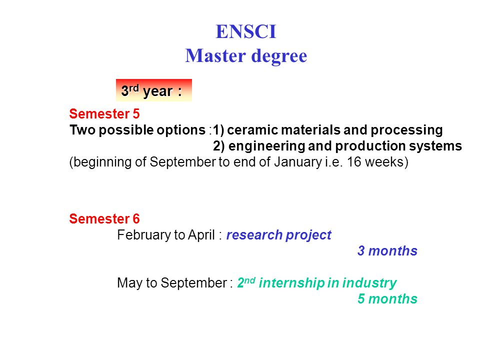 ENSCI Master degree 3 rd year : Semester 5 Two possible options :1) ceramic materials and processing 2) engineering and production systems (beginning of September to end of January i.e.