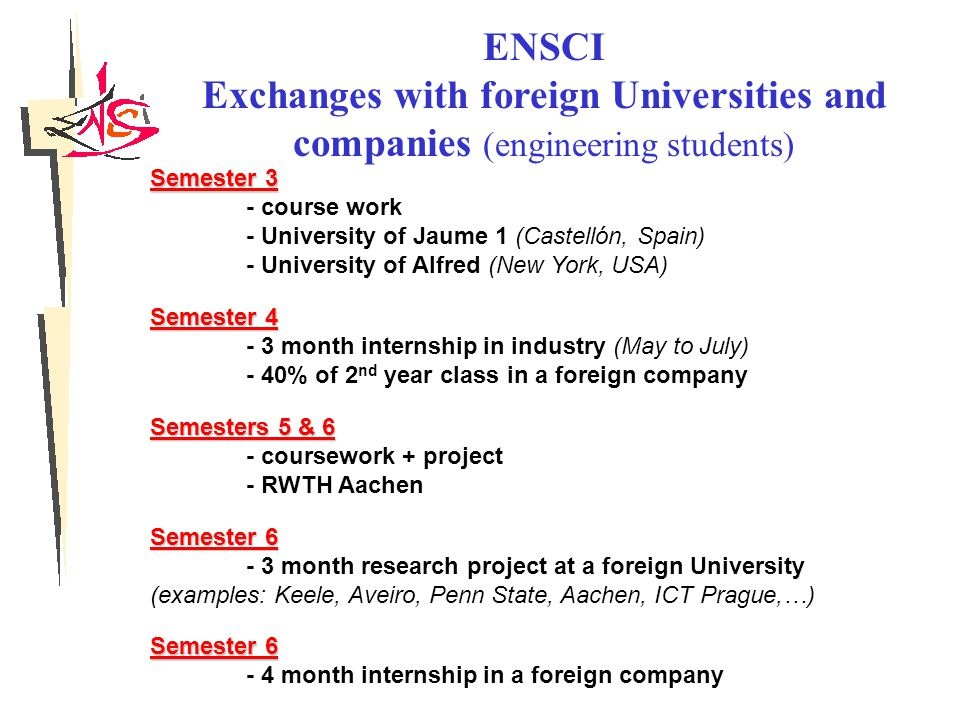 ENSCI Exchanges with foreign Universities and companies (engineering students) Semester 3 - course work - University of Jaume 1 (Castellón, Spain) - University of Alfred (New York, USA) Semester 4 - 3 month internship in industry (May to July) - 40% of 2 nd year class in a foreign company Semesters 5 & 6 - coursework + project - RWTH Aachen Semester 6 - 3 month research project at a foreign University (examples: Keele, Aveiro, Penn State, Aachen, ICT Prague,…) Semester 6 - 4 month internship in a foreign company