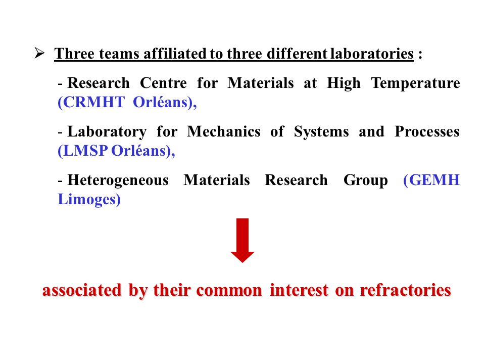  Three teams affiliated to three different laboratories : - Research Centre for Materials at High Temperature (CRMHT Orléans), - Laboratory for Mechanics of Systems and Processes (LMSP Orléans), - Heterogeneous Materials Research Group (GEMH Limoges) associated by their common interest on refractories