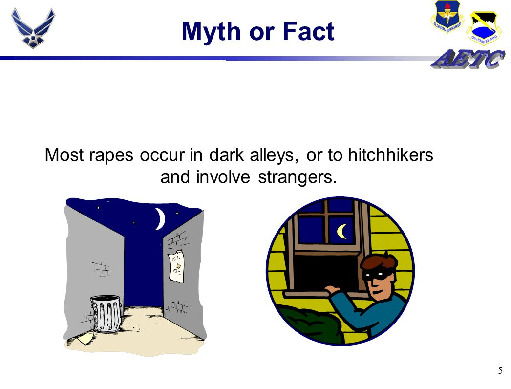 5 Myth or Fact Most rapes occur in dark alleys, or to hitchhikers and involve strangers.