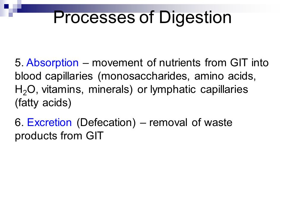 Processes of Digestion 5. Absorption – movement of nutrients from GIT into blood capillaries (monosaccharides, amino acids, H 2 O, vitamins, minerals)