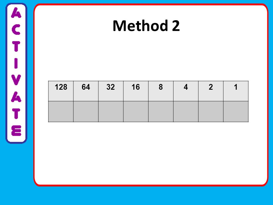 Have a go Demonstrate your learning: Complete the 2 examples on the learning sheet Challenge (complete on paper): Convert these numbers: 241 100 92 Convert to denary: 10111111 11111111