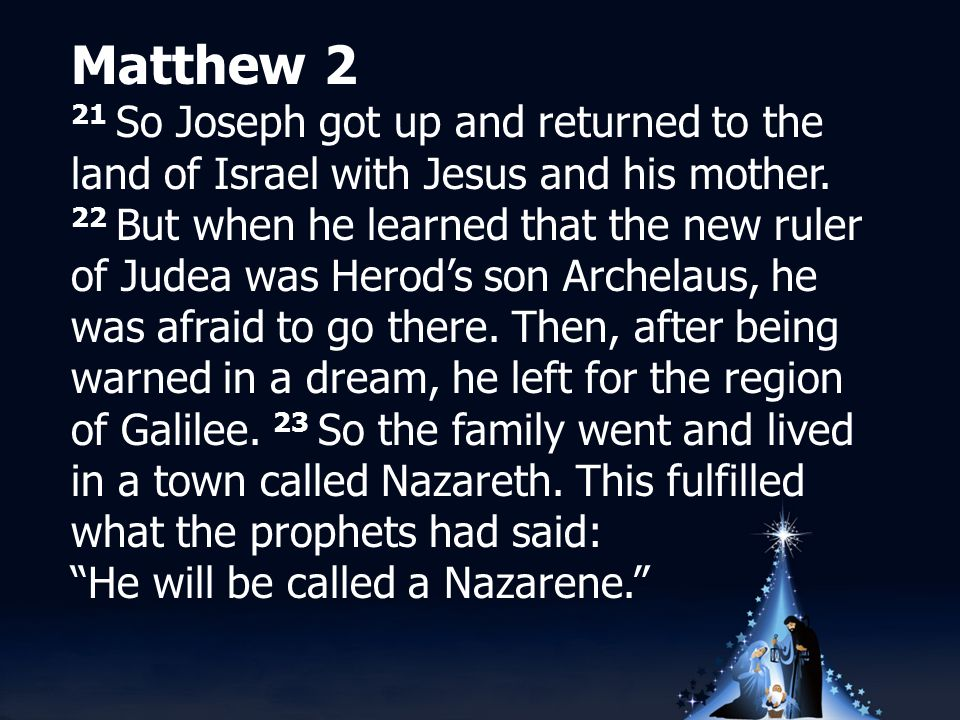 Matthew 2 21 So Joseph got up and returned to the land of Israel with Jesus and his mother.