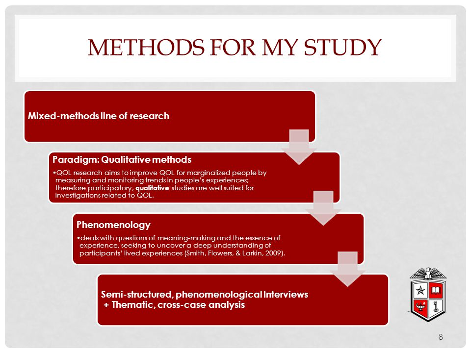 Mixed-methods line of research Paradigm: Qualitative methods QOL research aims to improve QOL for marginalized people by measuring and monitoring tren