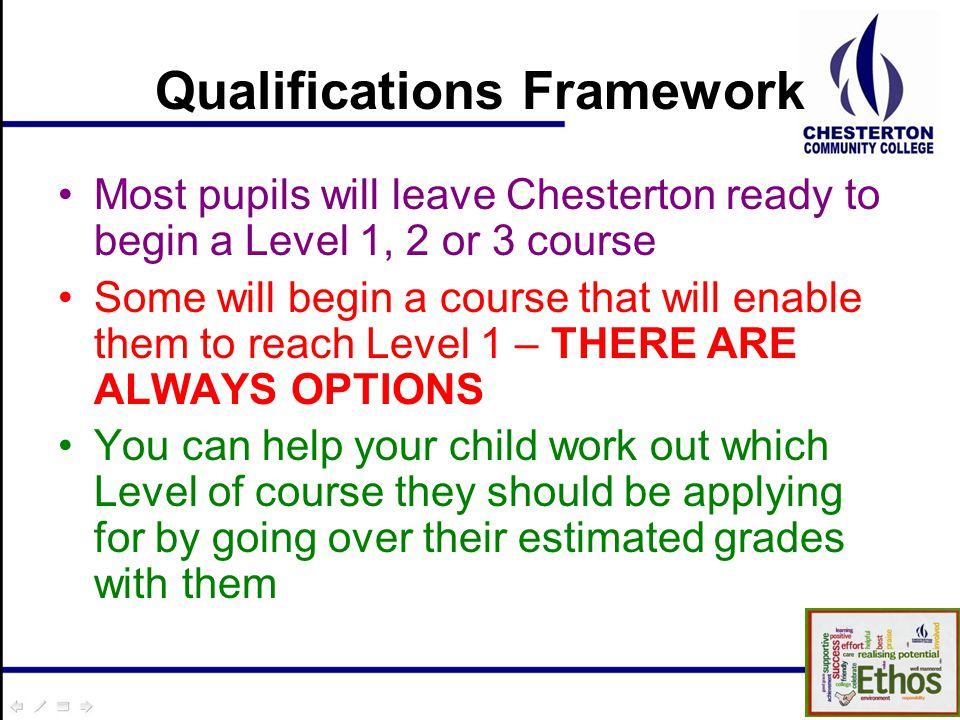 Qualifications Framework Most pupils will leave Chesterton ready to begin a Level 1, 2 or 3 course Some will begin a course that will enable them to reach Level 1 – THERE ARE ALWAYS OPTIONS You can help your child work out which Level of course they should be applying for by going over their estimated grades with them