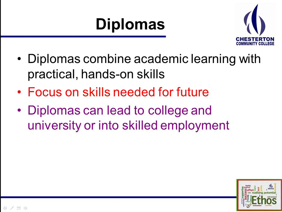 Diplomas Diplomas combine academic learning with practical, hands-on skills Focus on skills needed for future Diplomas can lead to college and university or into skilled employment