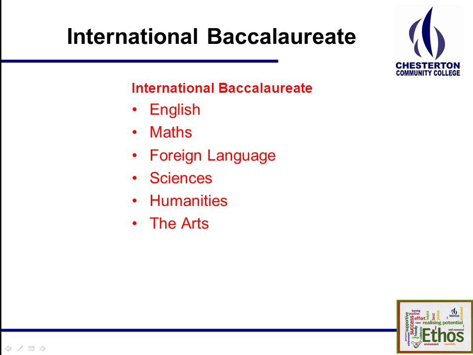 International Baccalaureate English Maths Foreign Language Sciences Humanities The Arts