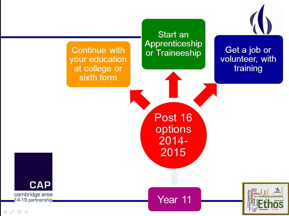Post 16 options 2014- 2015 Continue with your education at college or sixth form Start an Apprenticeship or Traineeship Get a job or volunteer, with training Year 11