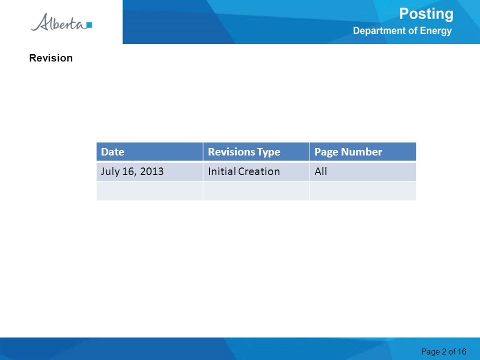 Page 2 of 16 Revision DateRevisions TypePage Number July 16, 2013Initial CreationAll