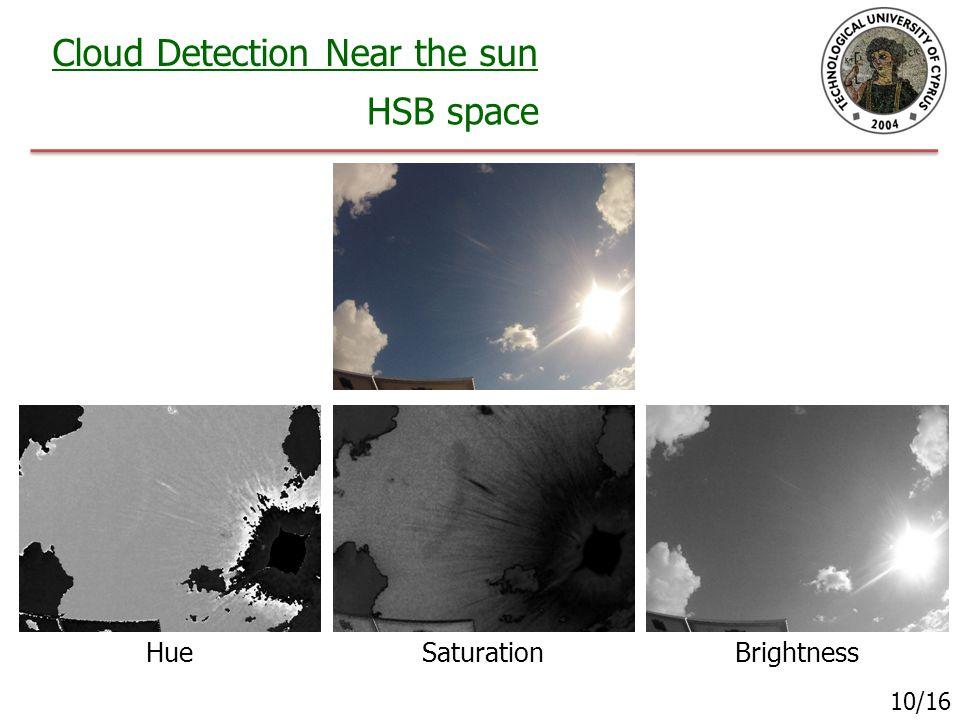 Cloud Detection Near the sun HSB space 10/16 HueSaturationBrightness