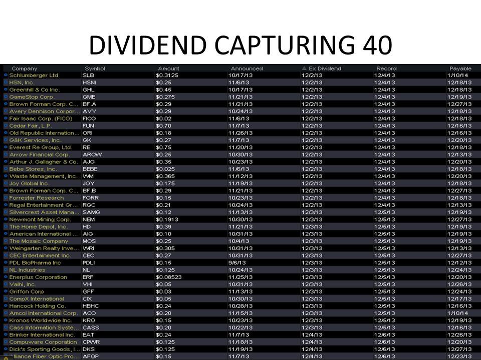 DIVIDEND CAPTURING 40