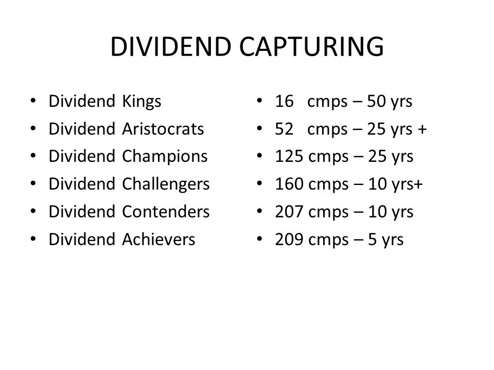 DIVIDEND CAPTURING 16 Dividend Kings 50+
