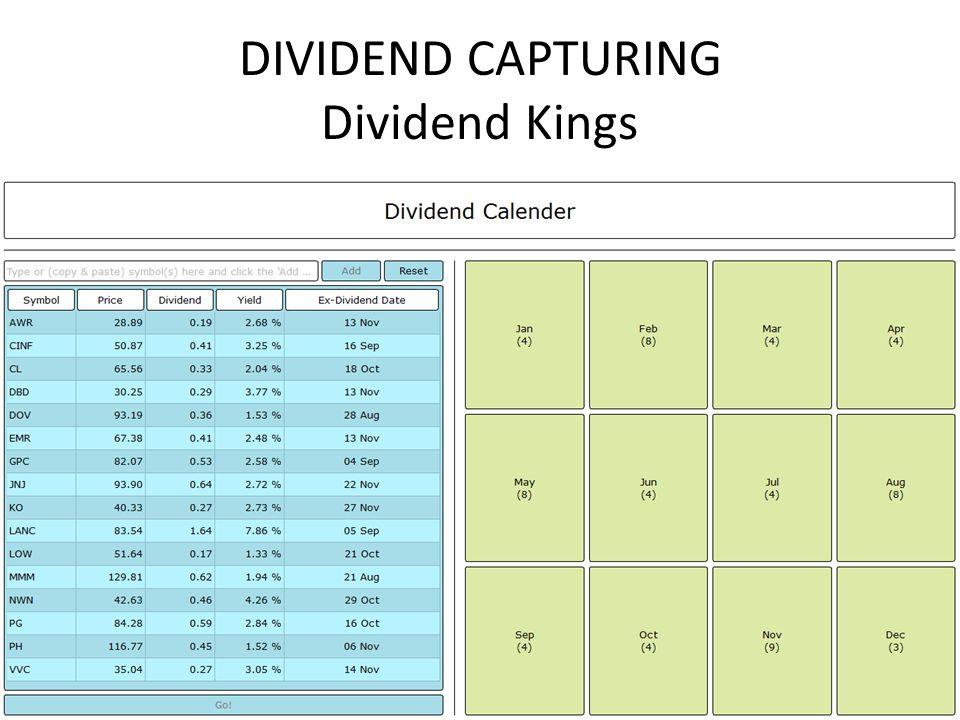 DIVIDEND CAPTURING Dividend Kings